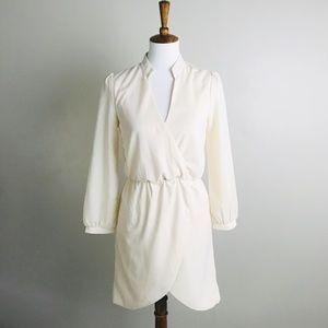 Tobi Cream Wrap Tulip Mini Dress Long Sleeve Small